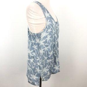 Splendid Tops - Splendid Tank Top Blue Stripe Palm Tree Pocket